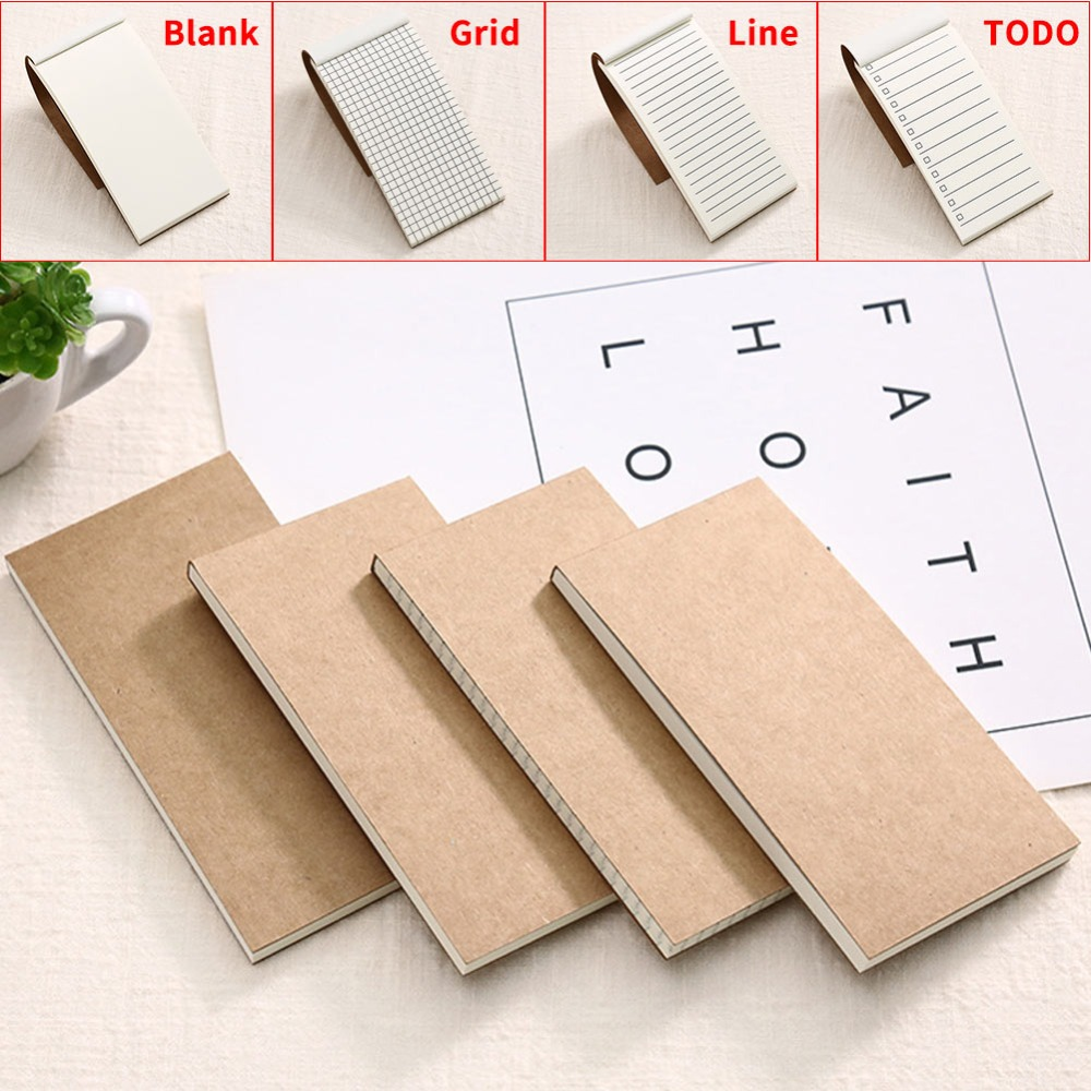 DELVTCH Portable Kraft Paper Blank/Line/Grid/todo Memo Pads Notebook Notepad Diary Journal Travel Planner Notes Organizer Gift