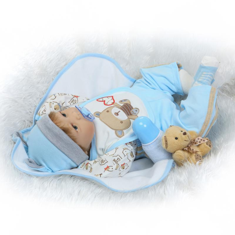 22inch Silicone Vinyl Reborn Baby Dolls Very Soft Sleeping Girl Doll Handmade Lifelike Fashionable Baby Xmas Gifts