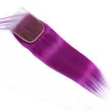 Remy Hair Straight Ombre Bundles With Closure With Baby Hair PrePlucked Peruvian Purple Color Hair Extensions With Closure