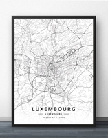 Luxemburgo Mapa Cartaz