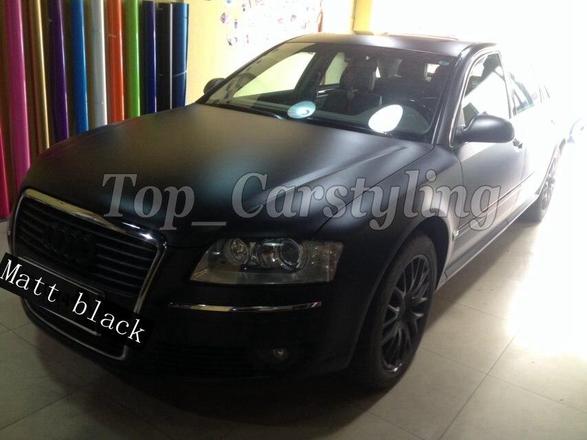 Film de housse de voiture en vinyle noir satiné avec dégagement d'air pour emballage de véhicule couvrant les graphiques automobiles 1.52x20 m/Roll/5ftx67ft