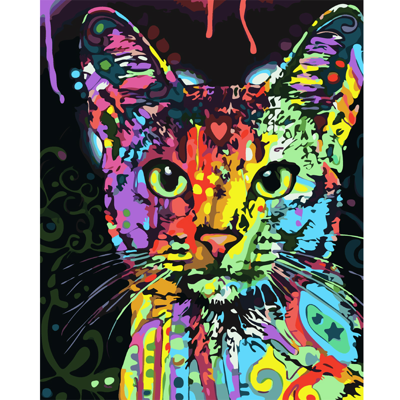 5D diy Diamond Painting Cross Stitch kits Abstract cat picture 3D diamond Embroidery Rhinestone Mosaic pattern home decor gift
