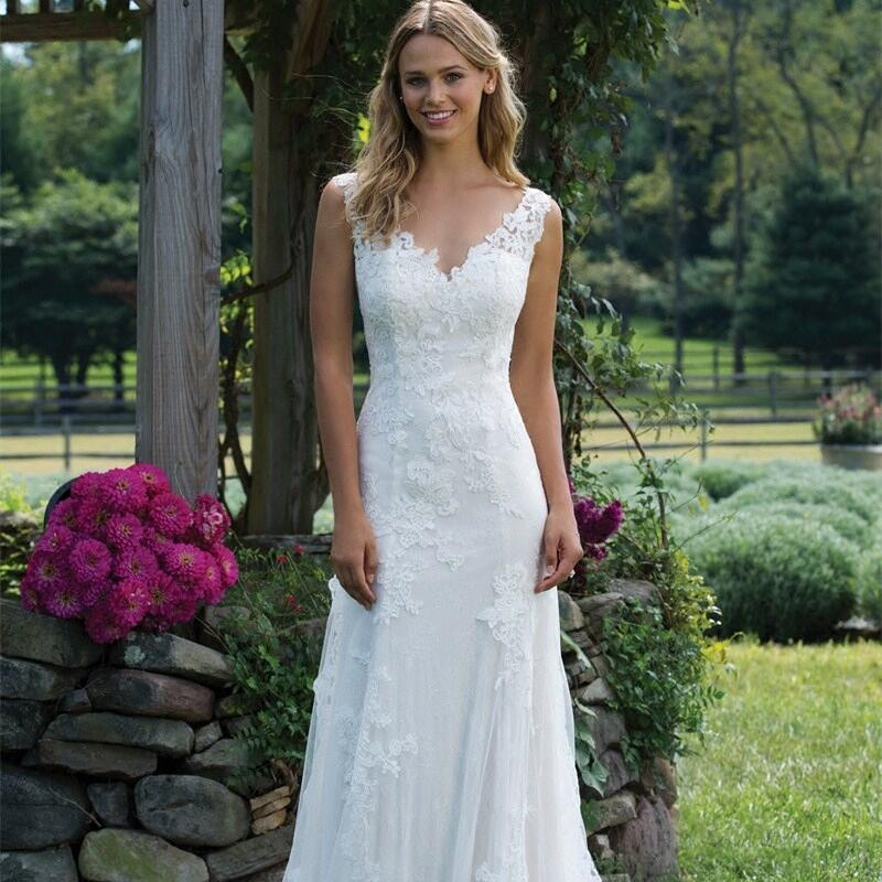 LORIE Illusion Mermaid wedding dress 2019 New Tulle and Lace Appliques Bride dress Sleeveless V neck