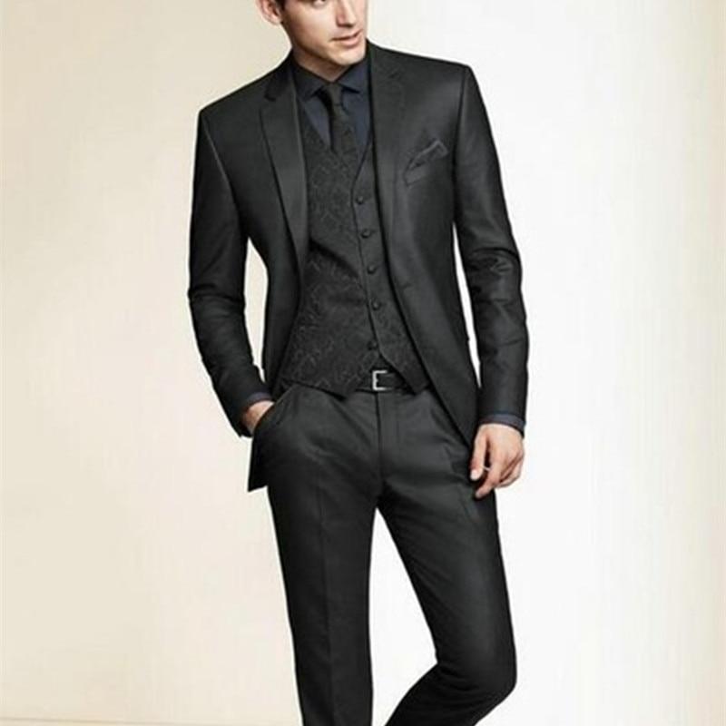 NoEnName_Null 2017 Hot Sale Bespoke Men Suits Classic Slim Fit Black Wedding Dress Groom Tuxedos 3 Piece Men Wedding Prom Suit