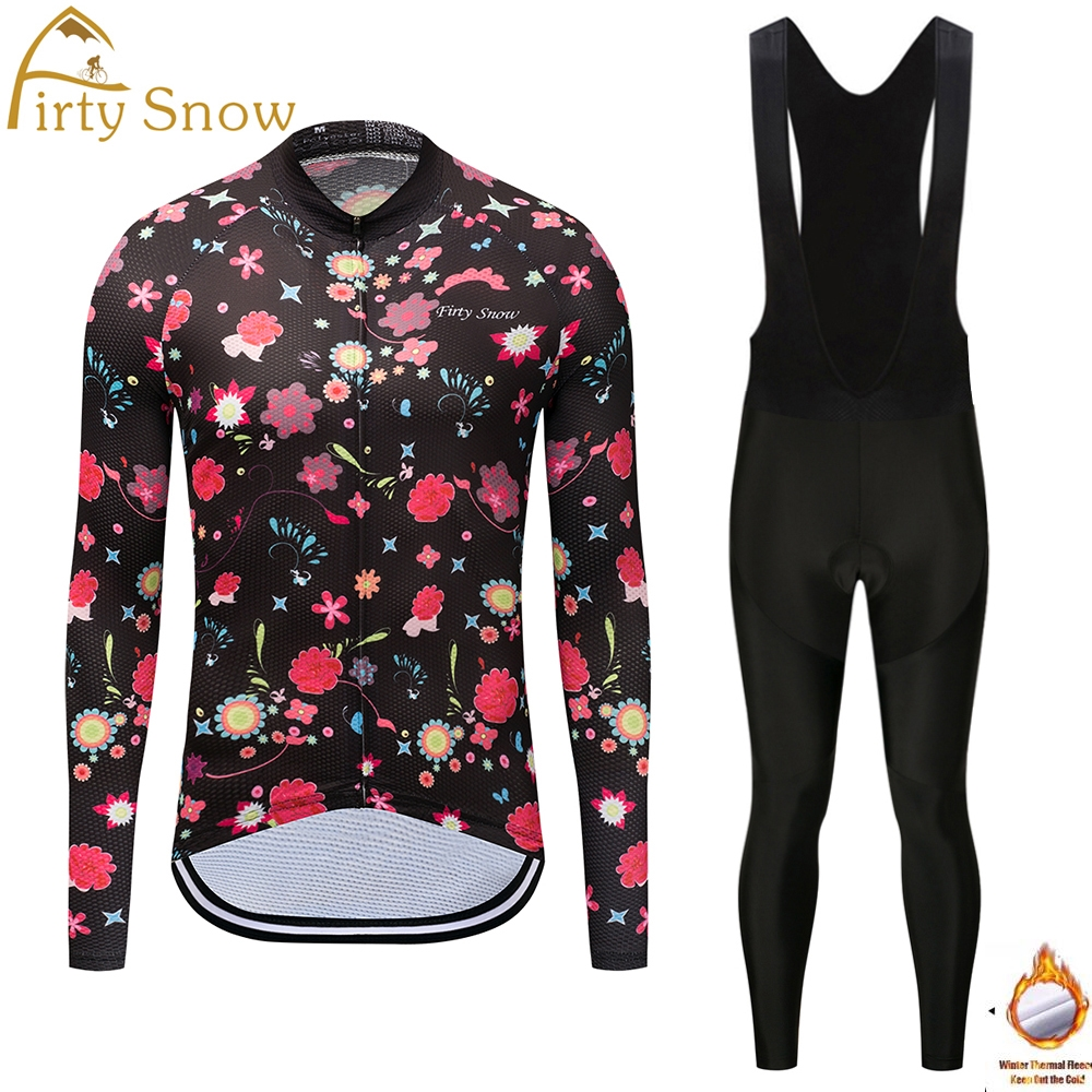 Firty Snow Thermal Fleece Long Sleeves Team Cycling Jersey Set with Bib Pants Winter Outdoor Sport Coat Suit Bicycle Clothing