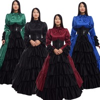 Lolita Victorian Dress Retro Vintage Women Gothic Royal Long Sleeve Corset Bustle Halloween Party Ball Gowns Costume