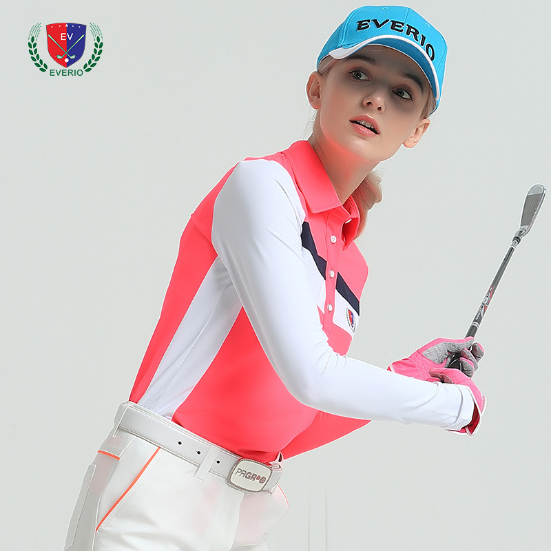 2018 spring new women golf sports shirt long sleeve arm sleeve shirt top quality 4 color lady golf shirt girl jersey top 5 color