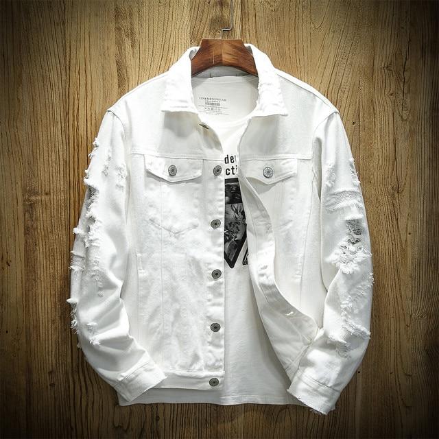 b027aa79d54 Autumn Hole Denim Jacket Men Ripped Cowboy Jackets Coat Male Slim Fit Solid  Casual Coats Cotton White Black Plus Size 5XL