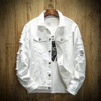 Autumn Hole Denim Jacket Men Ripped Cowboy Jackets Coat Male Slim Fit Solid Casual Coats Cotton White Black Plus Size 5XL