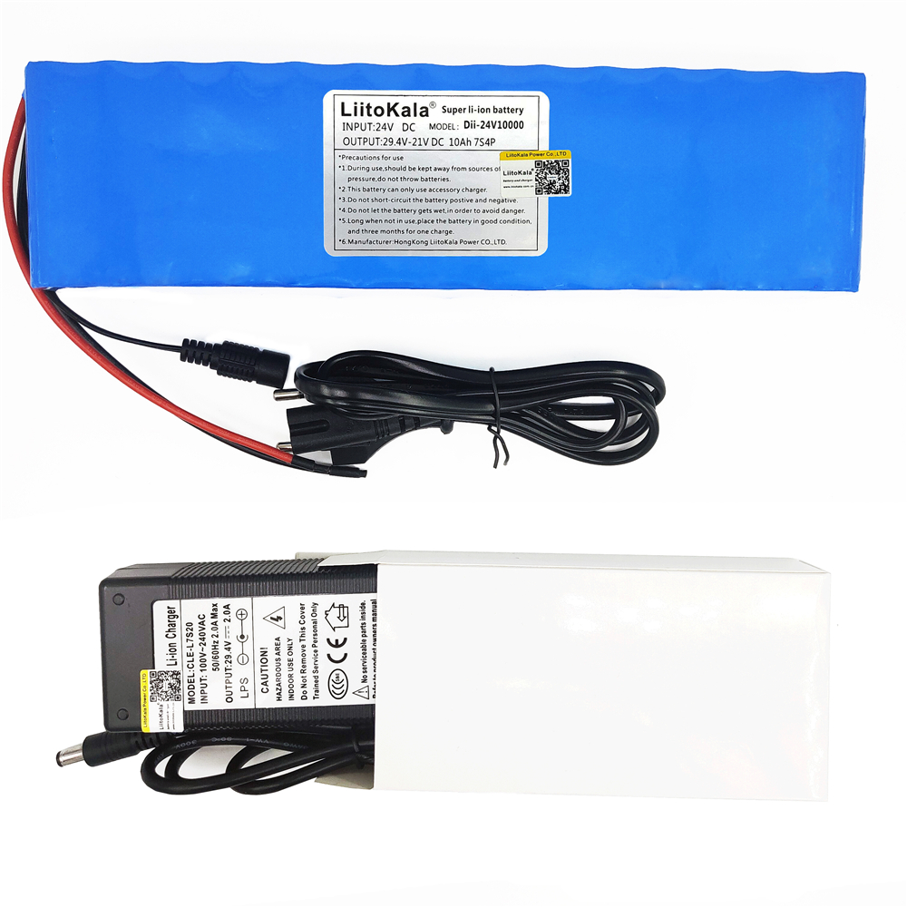 Liitokala DC 24V 10ah 7S4P batteries 15A BMS 250W 29.4 V 10000 mAh Battery for motor chair set Electric Power + 29.4V 2A chargerLiitokala DC 24V 10ah 7S4P batteries 15A BMS 250W 29.4 V 10000 mAh Battery for motor chair set Electric Power + 29.4V 2A charger