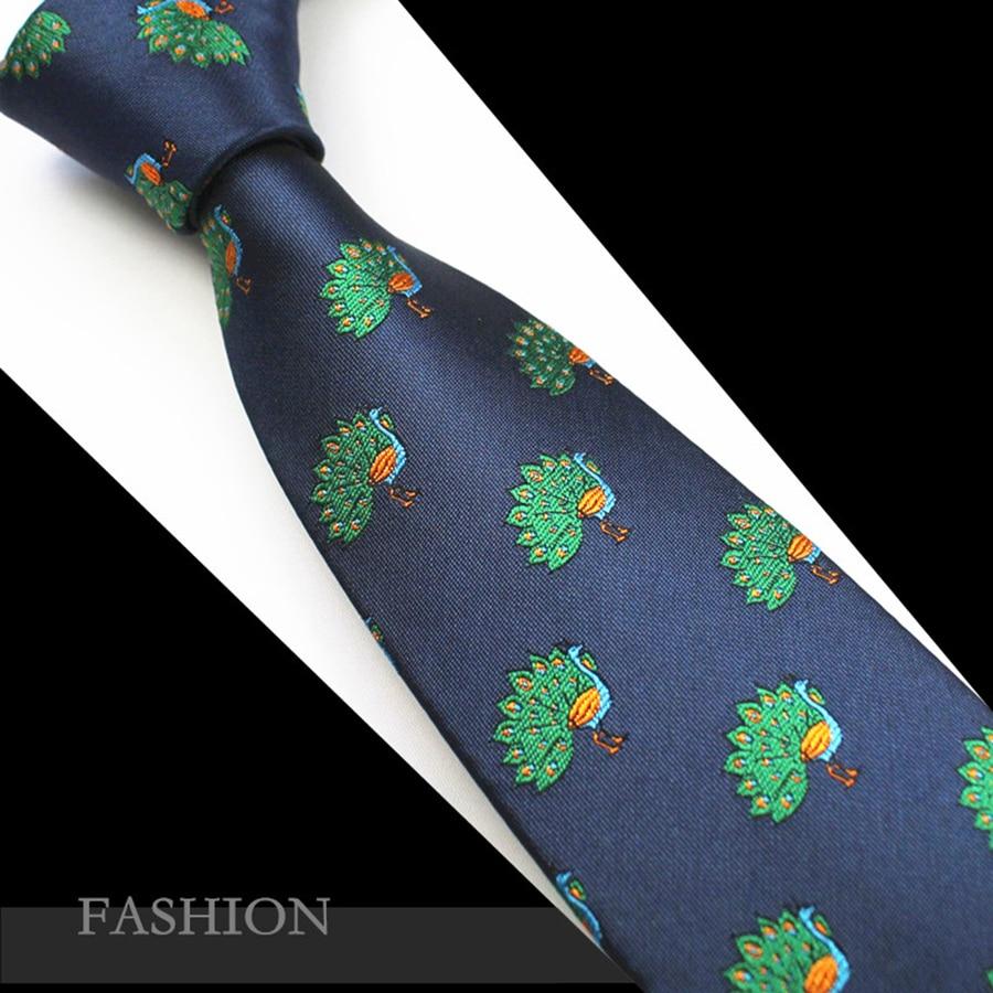 RBOCOTT állat nyakkendő férfi újdonság selyem Jacquard nyakkendők 7cm páva nyak nyakkendők férfi fekete nyak nyakkendő sárkány kék nyakkendő esküvő  t