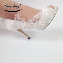 BaoYaFang Mới Ren Trắng Thời Trang Cho Người Phụ Nữ Hoa Giày Cưới Cô Dâu Cao Giày Nữ ĐẦM DỰ TIỆC Giày