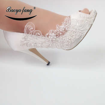 BaoYaFang New White Lace fashion shoes For woman Flower Wedding shoes Bride High shoes Ladies Party dress shoe - DISCOUNT ITEM  12% OFF All Category