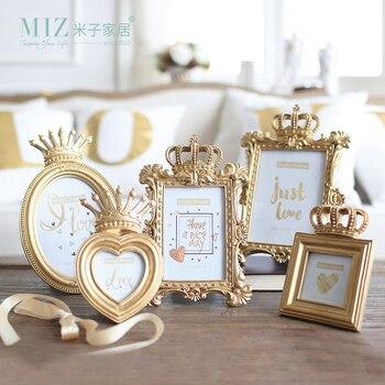 Miz 1 ชิ้น 5 รุ่น Luxury สไตล์บาร็อค Gold Crown Home Decor เรซินภาพเดสก์ท็อปกรอบรูปของขวัญสำหรับเพื่อน