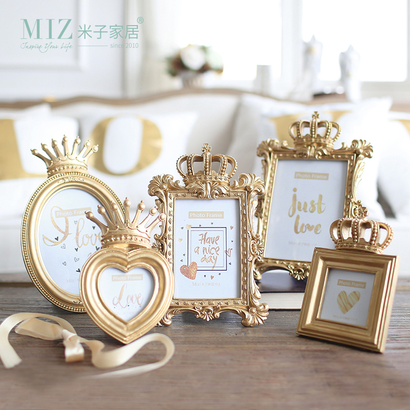 Miz 1 Piece 5 Model Luxury Baroque Style Gold Crown Home Decor Creative Resin Picture Desktop Frame Photo Frame Gift for Friend