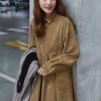 Coffee,Pink,Navy Blue Lady Corduroy Dress New Fashion Women Long Sleeve Oversized Loose Dresses Solid Color Outwear Clothes