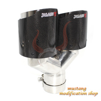 left akrapovic carbon fiber muffler exhaust tailpipe nozzle car exhause Y shaped straight plain cloth glossy surface