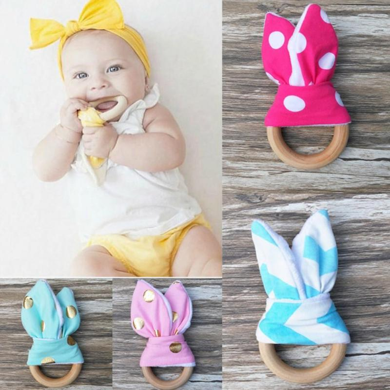Wooden Toddler Safety Chewie Teether Rabbit Ear Sensory Toy Baby Teether