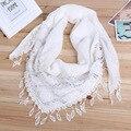 Hot Sale Da Moda Oco Tassel Lace Lantejoula Rosa Floral Malha Triângulo Mantilla Scarf Mulheres lenços Envoltório Xale 45x145 cm YX06