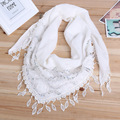 Hot Sale Fashion Hollow Tassel Lace Sequin Rose Floral Knit Triangle Mantilla Scarf Women Shawl Wrap scarves 45 x 145 cm YX06