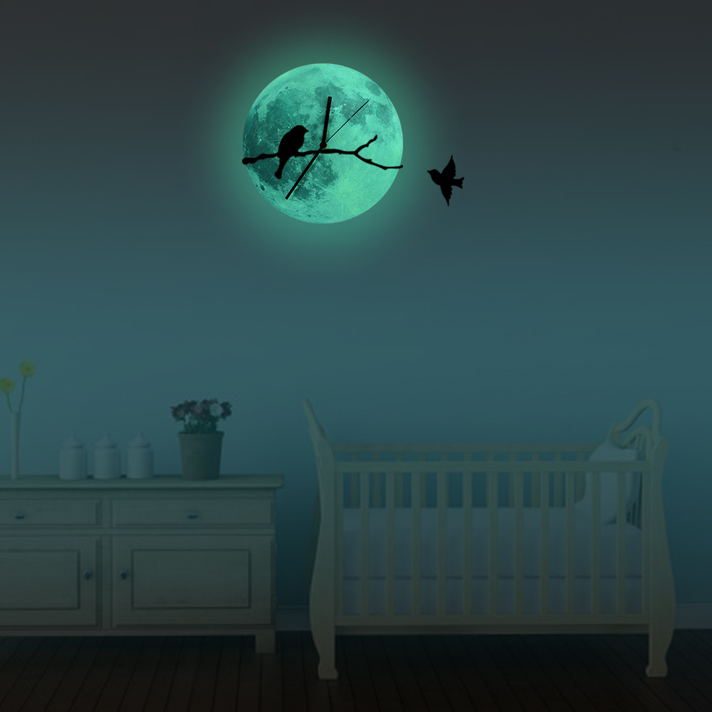 Funlife bird on the branches glowing moon wall clockglow in the funlife bird on the branches glowing moon wall clockglow in the dark home decorquartz sweep silence for living room30cm12 in wall clocks from home amipublicfo Images