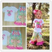 Hot Sale Girls Clothing Set Pink Bunny Pattern Embroidery Short Sleeve T Shirt Print Pant For