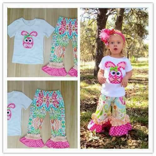 Hot Sale Girls Clothing Set Pink Bunny Pattern Embroidery Short Sleeve T-shirt Print Pant For Easter Kids Outfits Clothes E017 oem bmpj405