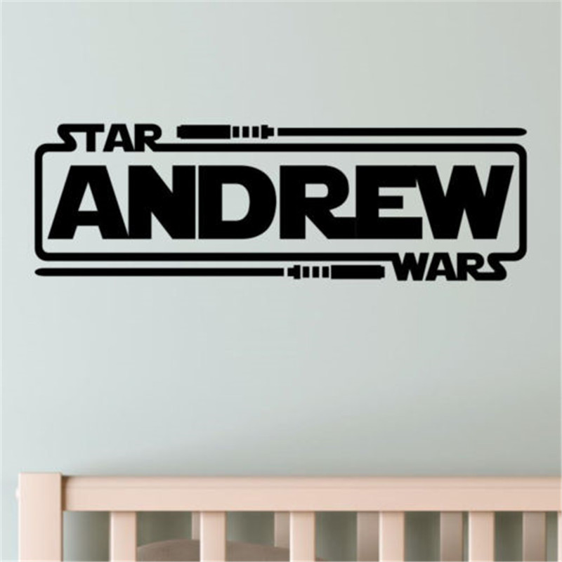 Personalized Custom Name Star Wars Boys Kids Home Wall Stickers Decals Vinyl Boys dormitory wall stickers #M236