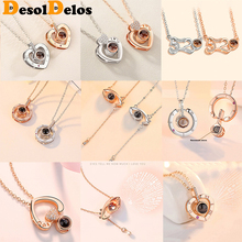 I Love You In 100 Language Projection Necklace 5 Style Romantic Love Memory Wedding Zircon Choker Necklace Women FashionJewelry