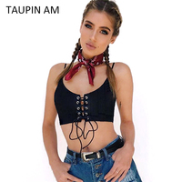 TAUPIN AM Lace Up Black Cotton Halter Tops Women Camis Sexy Hollow Out Knitted Bustier Crop