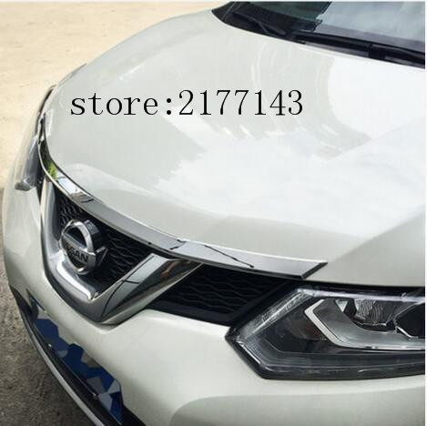 For Nissan X-Trail Xtrail T32 Rogue 2014-2016ABS Chrome Front Hood Grill Cover Bonnet Trim Cover Car Styling Accessories car rear trunk security shield shade cargo cover for nissan x trail xtrail rogue 2014 2015 2016 2017 black beige