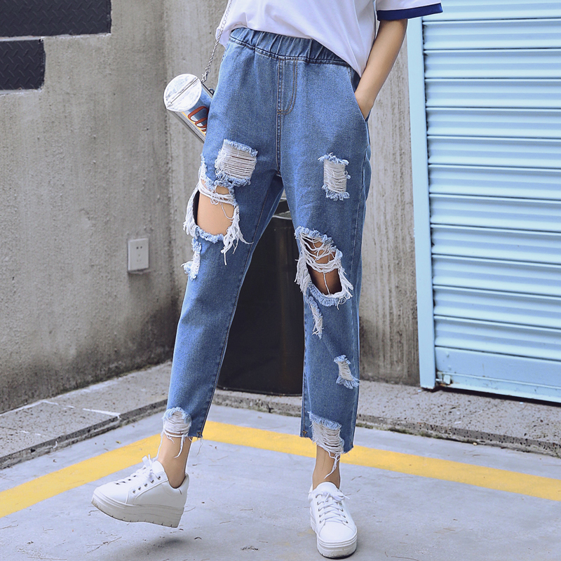 Kesebi 2017 Autumn Women Fashion Ankle-Length Pants Washed Ripped Denim Jeans Female Loose Big Hole Harem Pants JE232#1725 new summer vintage women ripped hole jeans high waist floral embroidery loose fashion ankle length women denim jeans harem pants
