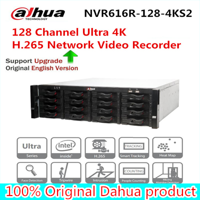 Dahua NVR616R-128-4KS2 128 Channel Ultra 4K H.265 Network Video Recorder NVR free shipping free shipping 1pcs video surge protector single channel network lighting protection with bnc for network