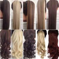 """S-noilite 23 """"grampo encaracolado longo na cauda do cabelo cabelo falso rabo de cavalo hairpiece com grampos de cabelo sintético pônei cauda extensão do cabelo"""