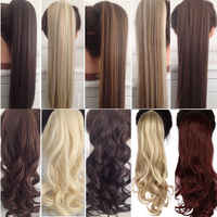 s-noilite 23 Long Curly Clip In Hair Tail False Hair Ponytail Hairpiece With Hairpins Synthetic Hair Pony Tail Hair Extension