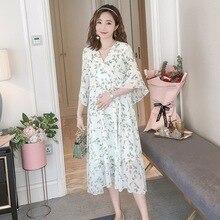 Новое летнее платье для беременных, Новое шифоновое платье с v-образным вырезом, корейская модная юбка для беременных с принтом