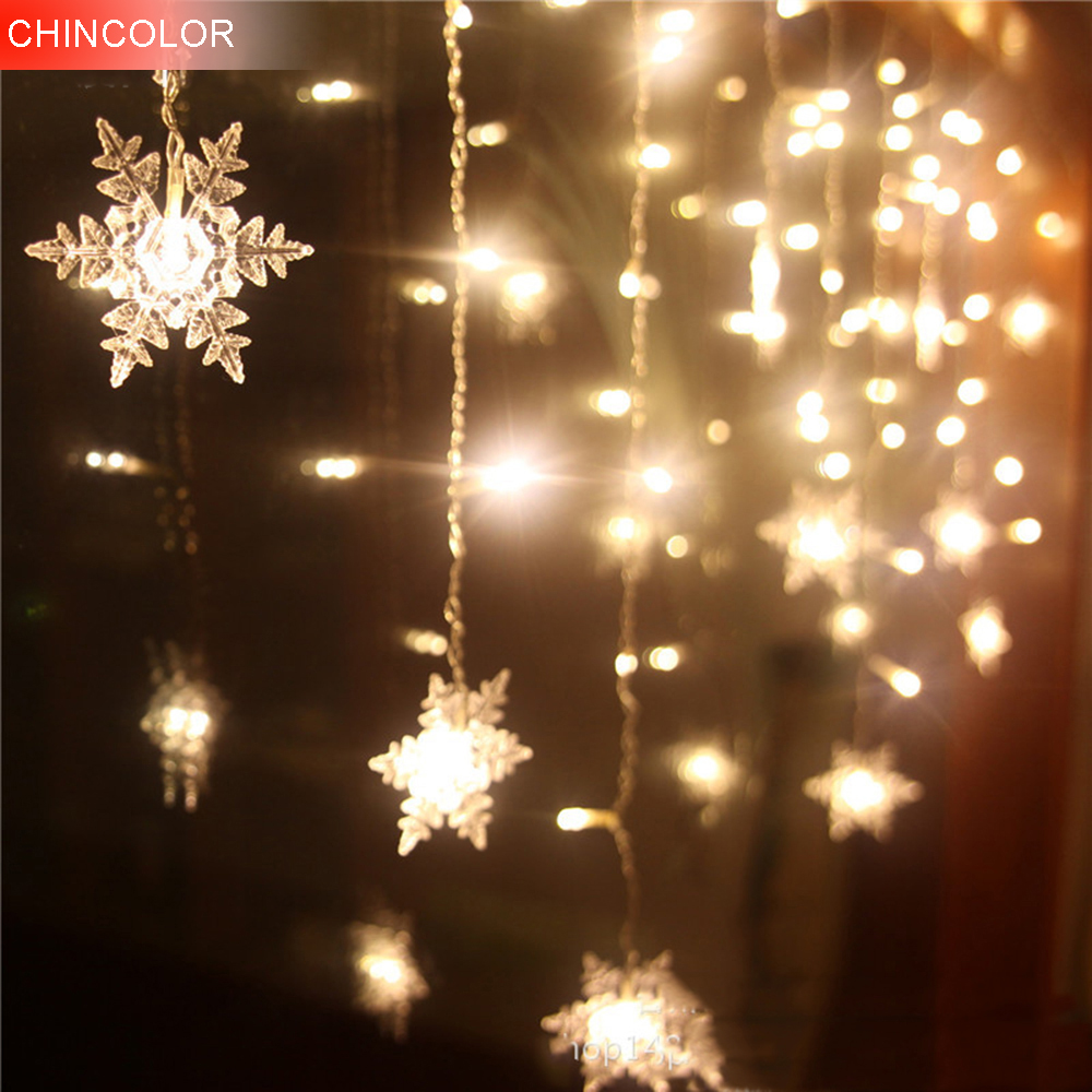 8*0.5M 192LEDS Holiday lights Snowflake Curtain LED Light String EU Plug New Year Christmas Garland Fairy Party Wedding Decor CA 5m 20 big balls led ball string lights curtain garland lamp for fairy wedding party new year outdoor christmas holiday lighting