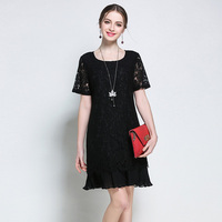 5XL Women Dresses Plus Size Lace Short Sleeve Knee Length European Big Size Summer Woman Work