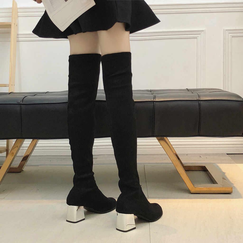 SAGACE/2019 г. женские облегающие сапоги пикантные Женские Сапоги выше колена из замши модные зимние высокие сапоги до бедра