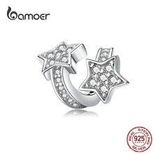 bamoer Shining Star Silver Charm Fit Charms Bracelet Bangle for Women DIY Jewelry AAA Cubic Zircon Silver 925 Jewlery SCC1244 недорого