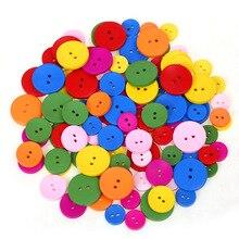 40 шт., яркие цвета, 2 отверстия, круглые деревянные Мини пуговицы, инструменты для шитья, скрапбукинг, декоративные аксессуары для одежды, материалы для рукоделия