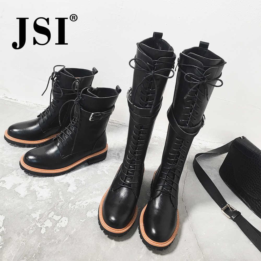 JSI moda kadın yarım çizmeler klasik Punk platformu kadın botları kış dantel-up Med topuk çizmeler bayanlar yuvarlak ayak ayakkabı JO278