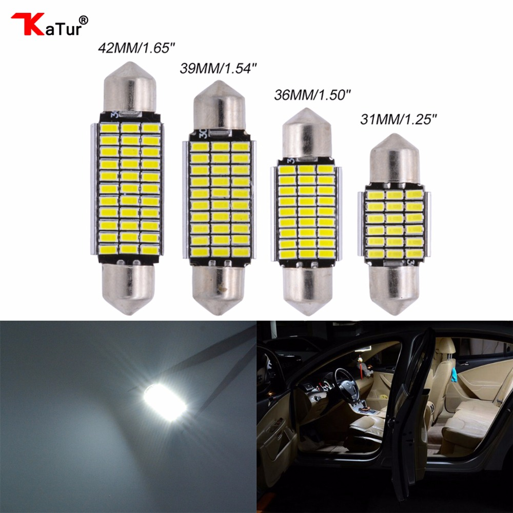 2stk Led Dome-lys Bagasjeromslampe Auto Interiørbelysning For Biler Lysemitterende Diode 31mm 36mm 39mm 42mm LED Car Taklamper