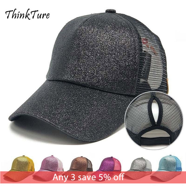 Sequins Glitter Golf Cap Women Ponytail Punched Rear Opening Golf Hat Mesh Breathable Baseball Sun Caps Sport Hat gravity falls