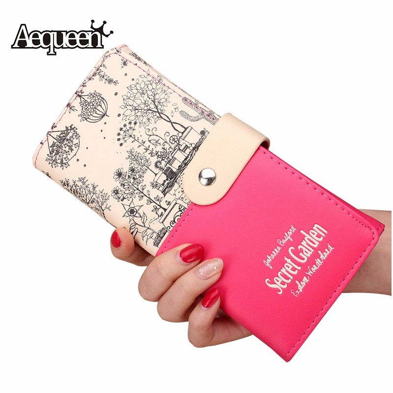 AEQUEEN Brand Leather Wallets Women Long Wallet Coin Purses Fashion Flower Purse Lady Pouch Credit Card Holders Clutches new russian new keyboard for lenovo g500 g510 g505 g700 g710 g500a g700a g710a g505a ru laptop keyboard not fit g500s