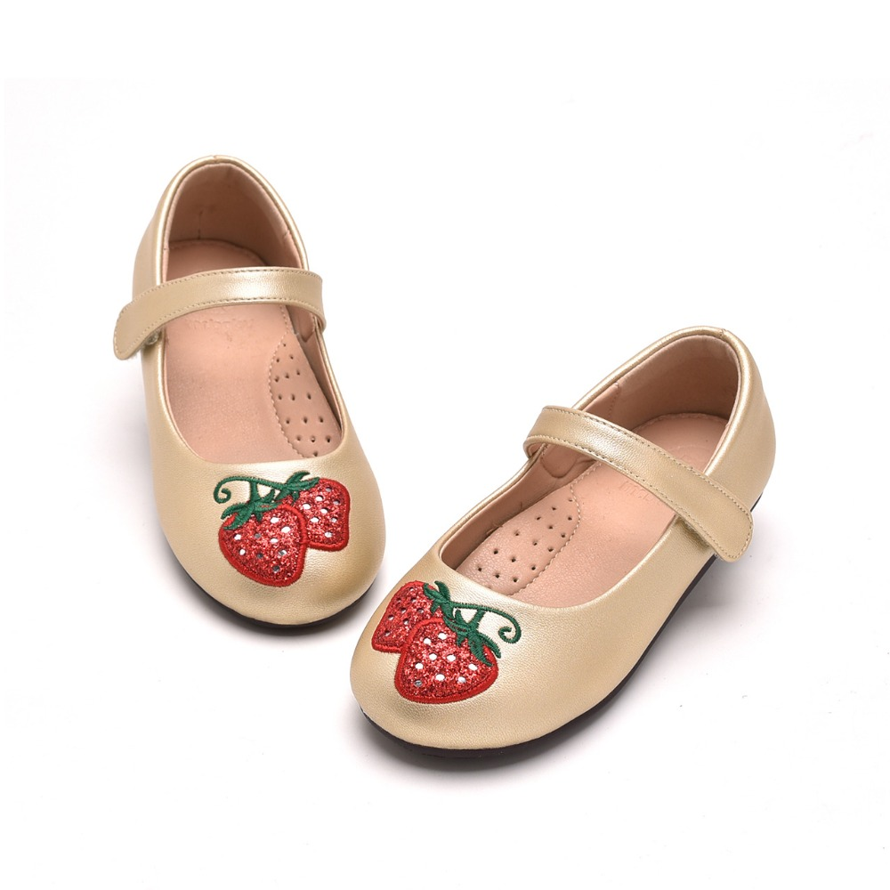 Mr.baby Original kids shoes 2018 New Spring and Autumn Strawberry Sweet Contract Princess Girl Single shoes Leather shoes