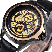 WINNER Classic Sports Men Mechanical Wrist Watches Skeleton Louvre Series Skeleton Design Dial Luminous Hands Leather