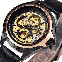 WINNER Classic Sports Men Mechanical Wrist Watches Skeleton Louvre Series Skeleton Design Dial Luminous Hands Leather