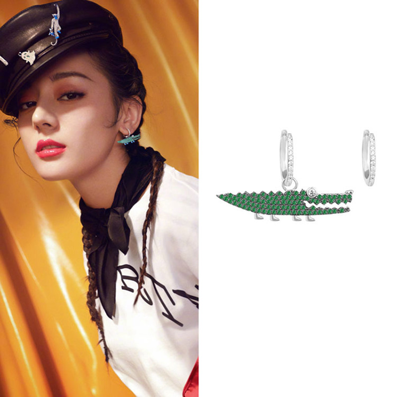 MIGGA Trendy Single Green CZ Zircon Crocodile Pendant Dangle Earrings for Women Ladies White Gold Color