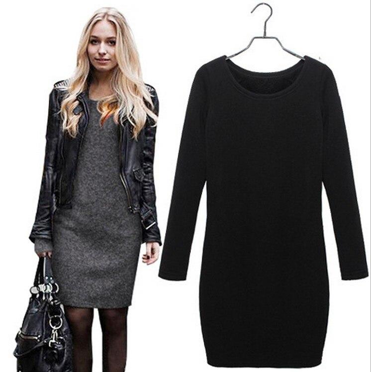 Autumn Dress Cotton Cashmere Long Sleeve chubby Women Dress Warm Winter Clothing Under Dress Big Size Women XXXL baggy dress